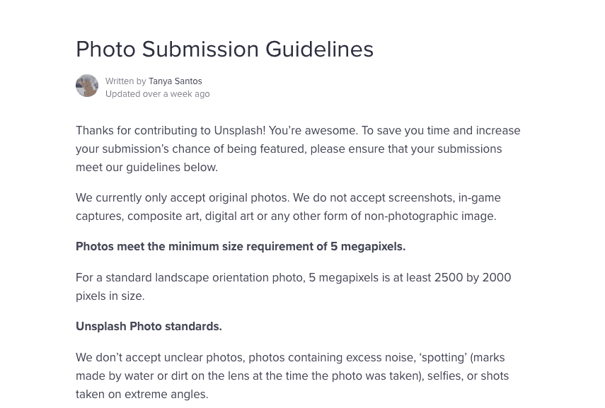 Photo submission guidelines