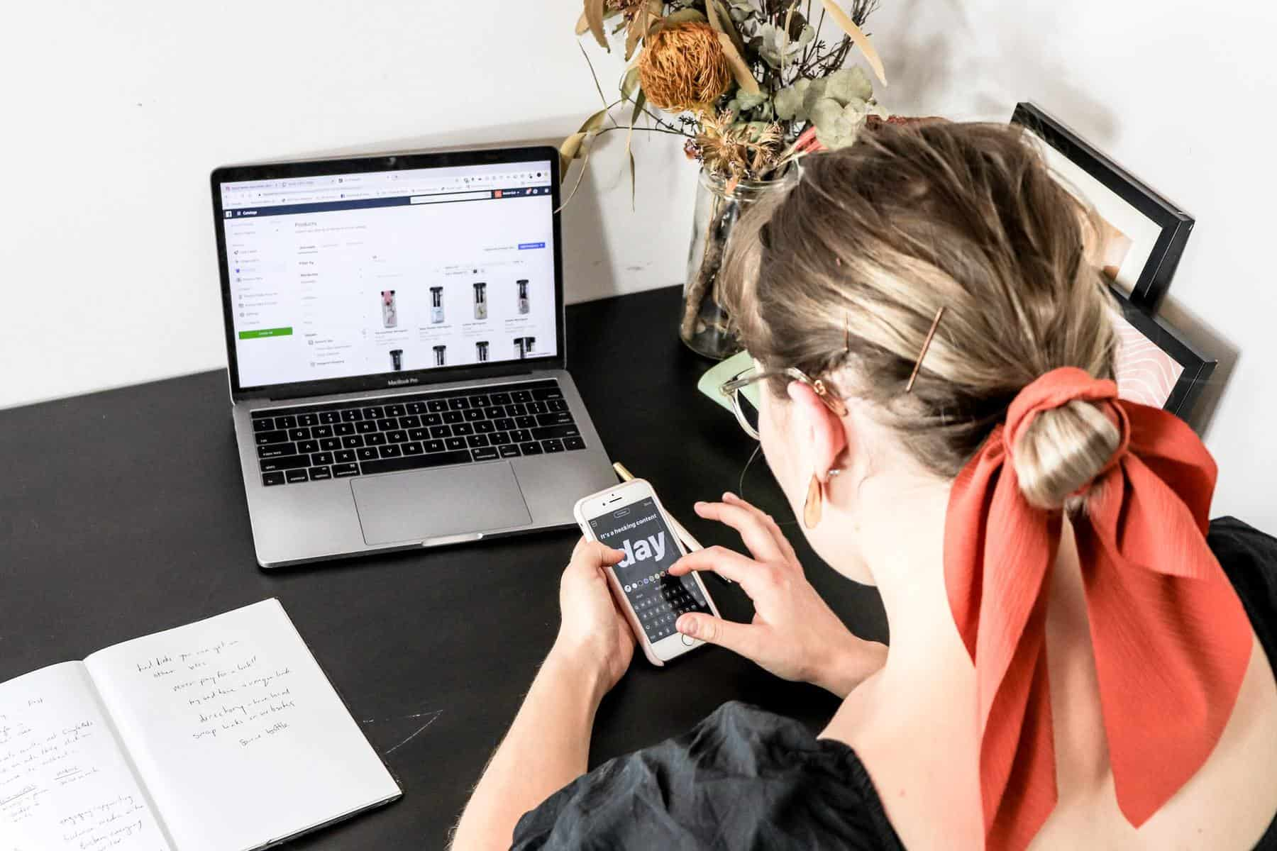 Woman updating ecommerce store