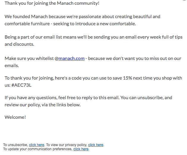 Manach welcome email